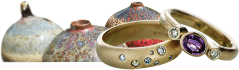 pottery and silver rings image