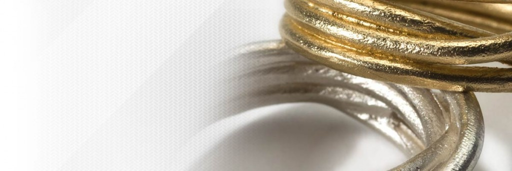 Gold and silver cluster rings by AMOCA jewellery